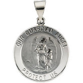 Hollow Round Guardian Angel Medal