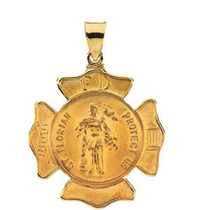 14kt Yellow 25.25x25.25mm Hollow St. Florian Medal
