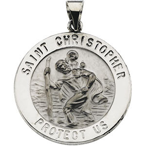 14kt White 25.5mm Hollow Round St. Christopher Medal