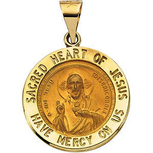Hollow Round Sacred Heart of Jesus Medal