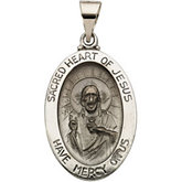 Hollow Oval Sacred Heart of Jesus Medal