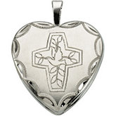 Heart Locket with Cross and Dove