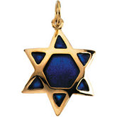 Domed Star of David with Blue Enamel