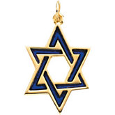 Star of David Pendant with Blue Enamel