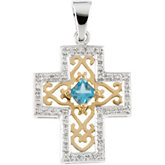 Semi-Set Anniversary Cross Pendant