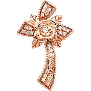 Floral Style Diamond Cross Pendant