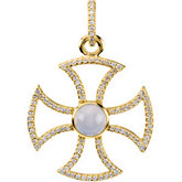 3/4 cttw Diamond Maltese Rope Cross with Chalcedony