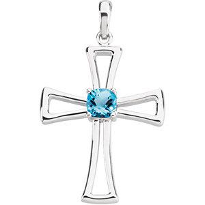 Genuine Swiss Blue Topaz Cross