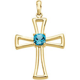 Genuine Swiss Blue Topaz Cross