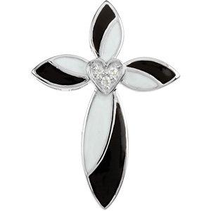 Black and White Enamel Diamond Cross