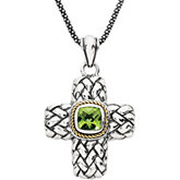 Genuine Peridot Cross Necklace