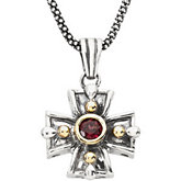 Genuine Rhodolite Garnet Cross Necklace
