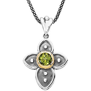 Genuine Peridot Cross Necklace