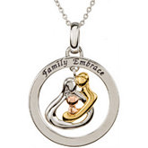18kt & 14kt Plated Embraced by the Heart ™ (Family) Embraced Circle Necklace