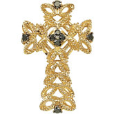 1/6 ct tw Sterling Silver Cross Pendant with Gold Plating and Black Diamonds