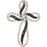 1/2 ct tw Black & White Diamond Cross Pendant