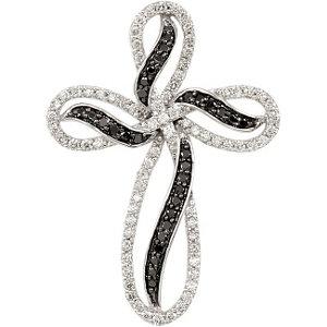 1/2 CTW Black & White Diamond Cross Pendant