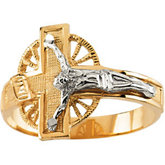 Two Tone Men's Crucifix Ring