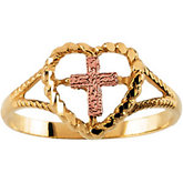 14KY/Rose Cross/Heart Ring