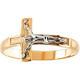 Two Tone Crucifix Ring