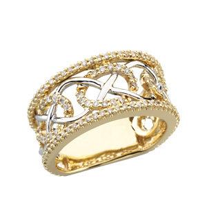 Two-Tone Diamond Three-fold Marriage Ring