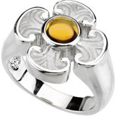 GENUINE CITRINE MALTESE CROSS RING