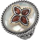 Genuine Mother of Pearl & Mozambique Garnet Ring