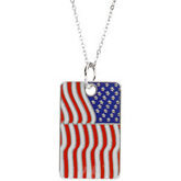 Blessed is the Nation USA Flag Dogtag & Chain