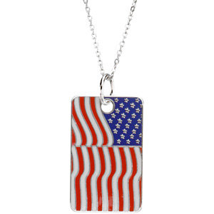 Blessed is the Nation USA Flag Dogtag Necklace