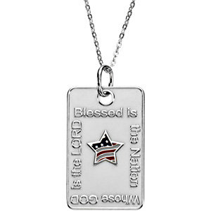 Blessed is the Nation Star Dogtag Necklace