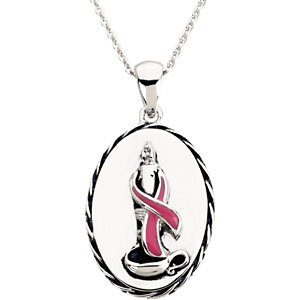 Breast Cancer Awareness Pendant and Chain