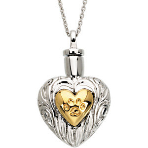 "Sterling Silver & Yellow Plated Pet Heart Ash Holder 18"" Necklace"