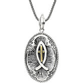 Fish & Cross Pendant Necklace