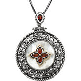 Genuine Mother of Pearl & Mozambique Garnet Pendant Necklace