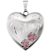 Heart Mom Locket with Flowers