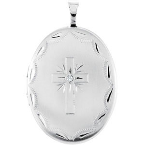 Oval Cross Locket with Diamond