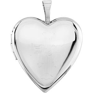Heart Locket Engraved with Cross & Robe