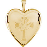 Heart Locket Engraved with Cross and Dove