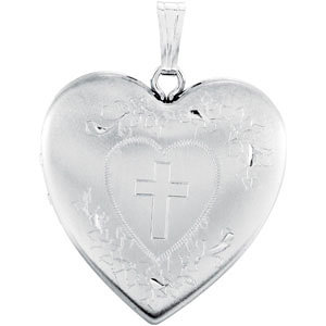 Heart Locket Engraved with Cross
