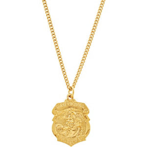 24kt Gold Plated St. Michael Medal Necklace