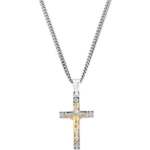 Two-Tone Crucifix Necklace