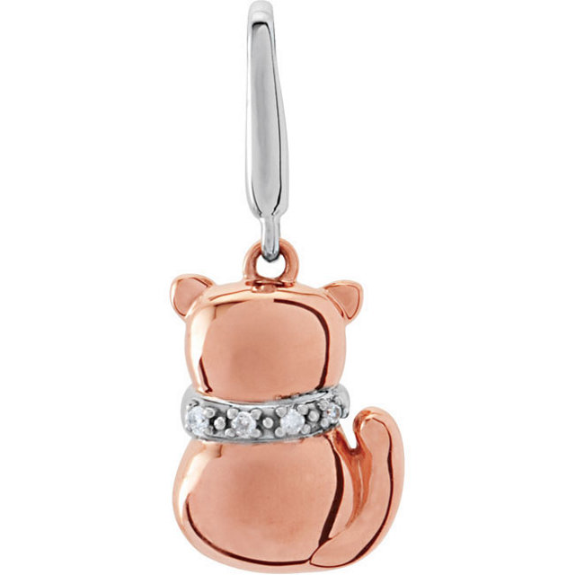 14K Rose & White Diamond Youth Cat Charm with Packaging
