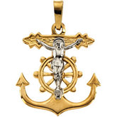 Two Tone Mariner's Crucifix Pendant