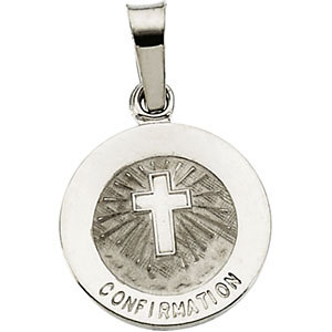 14K White 12mm Confirmation Medal with Cross