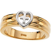 Two Tone Heart & Cross Ring