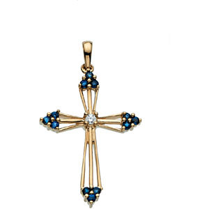 Sapphire & Diamond Cross Pendant