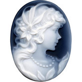 Oval Genuine Black Agate Victorian Lady (A) Cameo