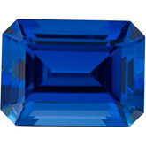 Emerald/Octagon Chatham Created Blue Sapphire