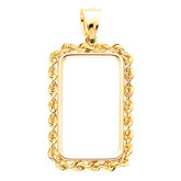 Rectangular 2.5mm Solid Rope Pendant Frame for 1/4 Ounce Credit Suisse Coin
