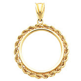 2.5mm Solid Rope Tab Back Frame Pendant for Mexican 5 Peso Coin